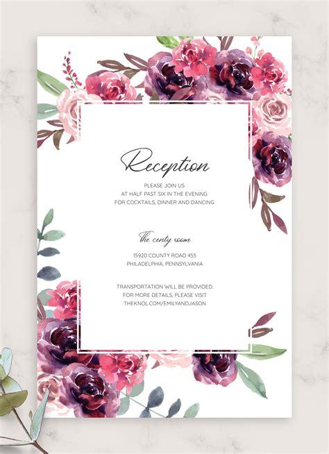 printable burgundy floral wedding reception card
