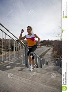 Young, Woman, Running, Up, Stairs, In, City, Royalty, Free, Stock