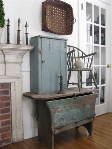 Farmhouse Primitive Decor Ideas With Aqua Blues Country