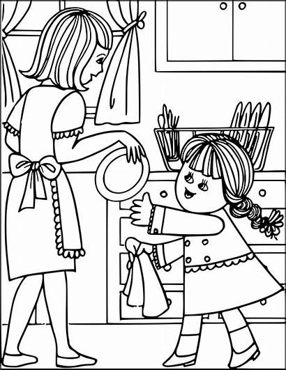 Chores Clipart Doing Household Dishes Toddler Kitchen