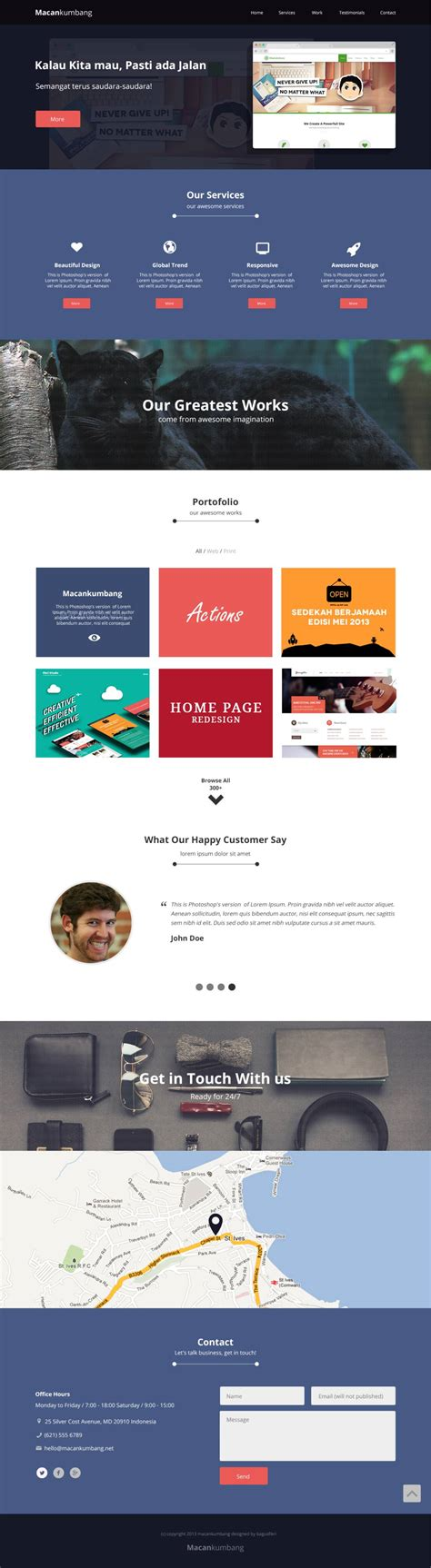 one page website design macan kumbang free templates web design one page website