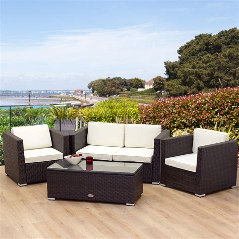 new rattan garden furniture oxford 4 seater brown