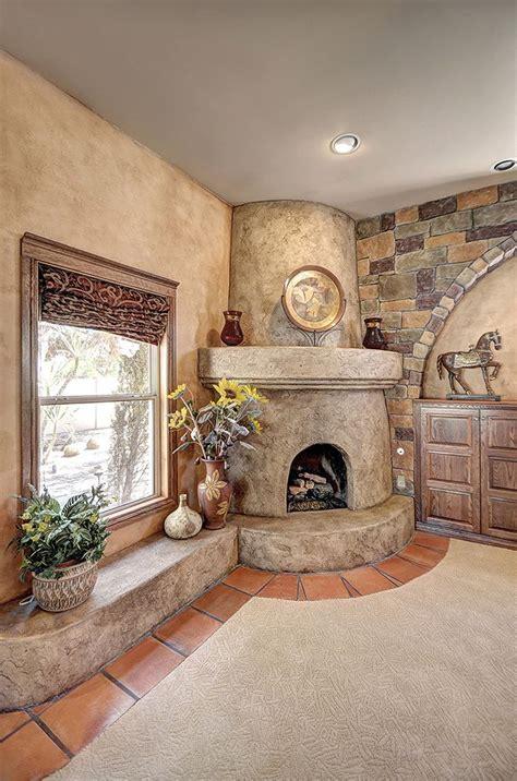 custom textured  distressed antiqued kiva fireplace
