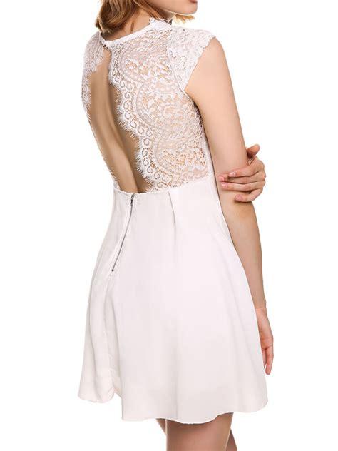 popular 2016 white v neck cap sleeve eyelash lace