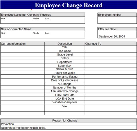employee change record template  excel templates