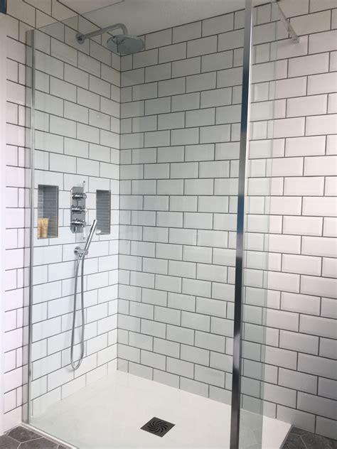 bathroom refurb white subway tiles contrast grout walk