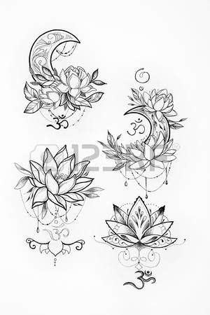 lotus flower tattoo designs: Sketch of a lotus and moon on