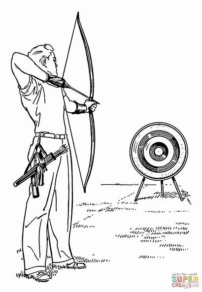 Coloring Archery Pages Printable Drawing Paper