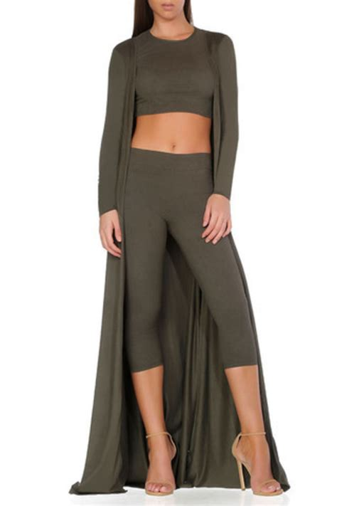 Leggings olive green olive green matching set crop tops fall outfits army green - Wheretoget