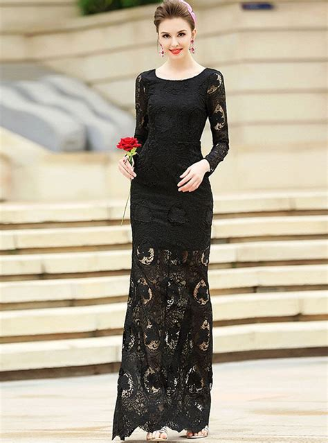 Party Lace Splicing Hollow Out Sheath O Neck Long Sleeve