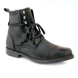 Black Leather Military Boots Men