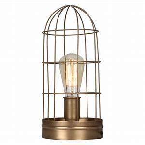 Lampe Industrielle A Poser : lampe grillag e style industrielle couleur bronze demeure et jardin ~ Teatrodelosmanantiales.com Idées de Décoration