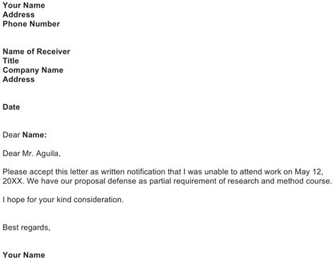 excuse letter sample   business letter