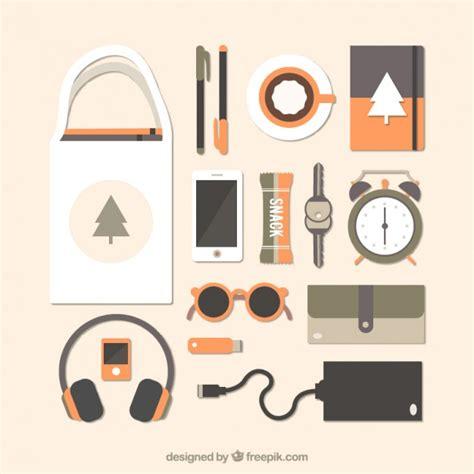 bureau avec des objets modernes dans design plat