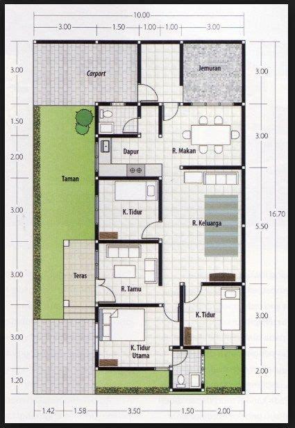 denah rumah  kamar ukuran  terbaik  terbaru