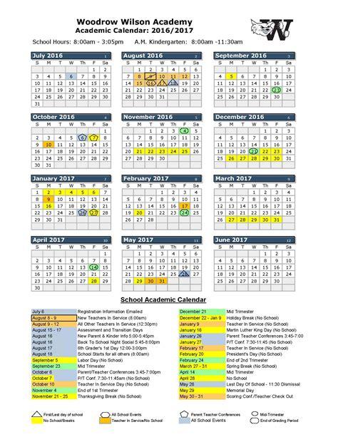 school calendar woodrow wilson academy