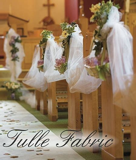 using tulle for pew decorations ceremony project