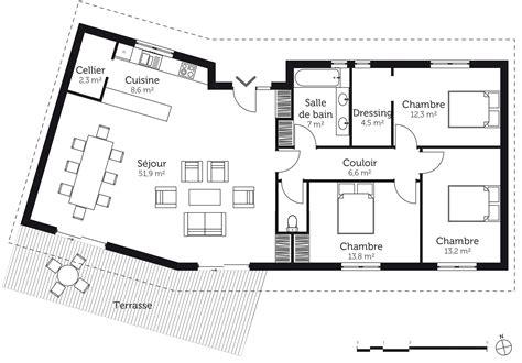 plan maison en l plain pied 3 chambres plan de maison plain pied 3 chambres impressionnant plan