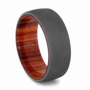 Tulip Wood Men39s Wedding Ring W Sandblasted Titanium