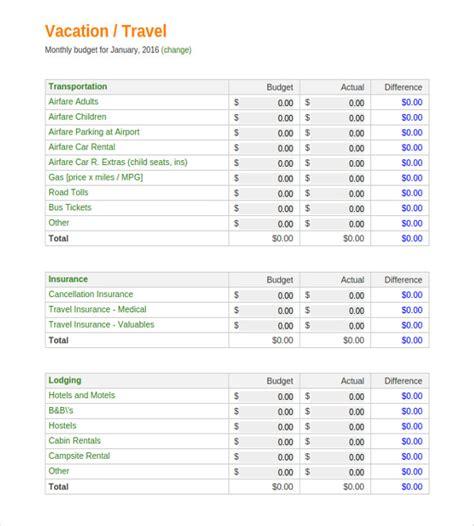 vacation budget templates docs   premium