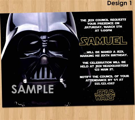 star wars birthday invitations bagvania
