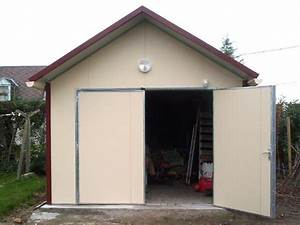 garage metal quotcomblouxquot 20 m2 4 x 5 x 264 m 040 mm With garage en panneau sandwich