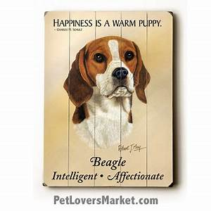 """Dog Painting: Beagle Pictures """"Happiness is a Warm Puppy"""""""