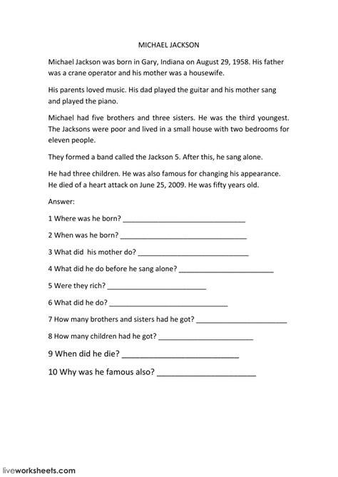 biography reading comprehension interactive worksheet