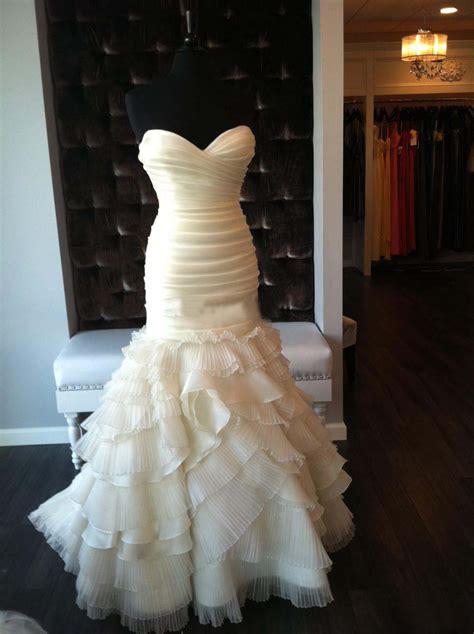 cheap strapless ruffled organza mermaid wedding dress