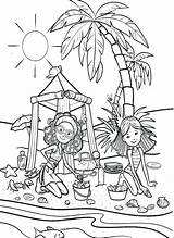 Coloring Pages Vacation Sand Castle Playing Beach Groovy Printable Getcolorings Pa sketch template