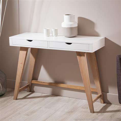 bureau console 2 tiroirs console en bois avec 2 tiroirs pablo kaligrafik console