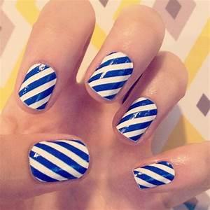 blue white diagonal stripes nail art | Nail art ...