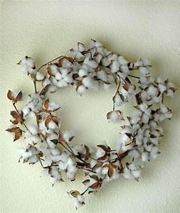 Faux Cotton Wreath 22in