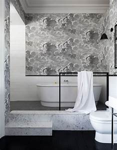 Papier Peint Salle De Bain : 15 salles de bains grises elle d coration ~ Dailycaller-alerts.com Idées de Décoration