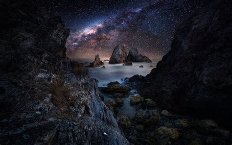 Nature Landscape Coast Tunnel Sea Milky Way Sky