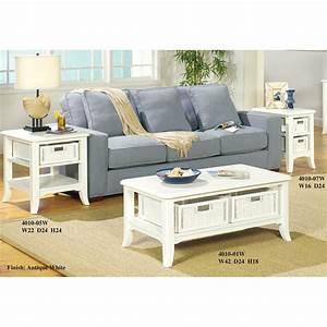 The simple stores antique white coffee table set 4010w for Antique white coffee table sets