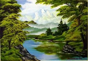 Bilder Bäume Gemalt : flu am waldrand wald himmel berge landschaft von marzinkowski bei kunstnet ~ Orissabook.com Haus und Dekorationen