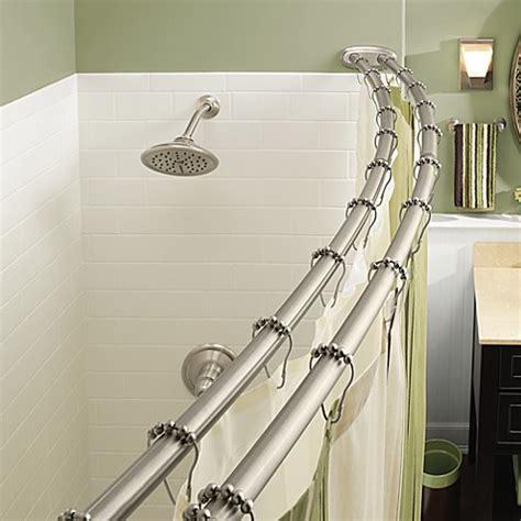 curved shower curtain rod buy moen 174 adjustable curved brushed nickel shower
