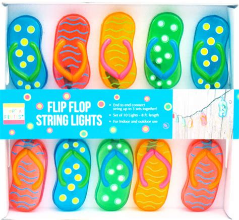 brightly colored flip flop string lights