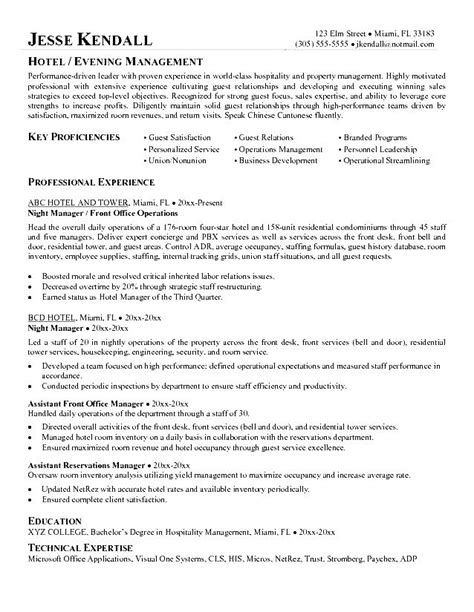 Resume Template Hospitality by Hospitality Management Resume Free Sles Exles
