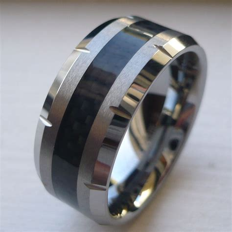 10mm men s tungsten carbide wedding band ring with black carbon fiber size 8 ebay
