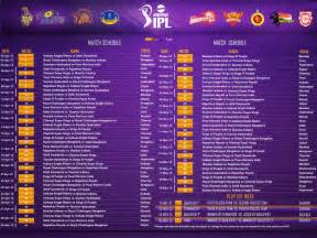 IPL Time Table Schedule 2016