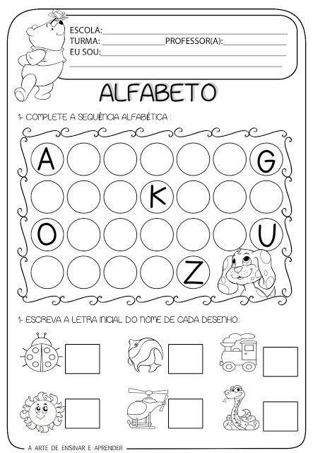 atividade pronta alfabeto e letra inicial lectoescritura iniciais alfabeto e