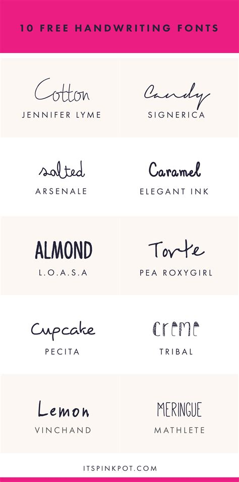 10 Free Handwriting Fonts For Your Creative Projects  Pinkpot Studio