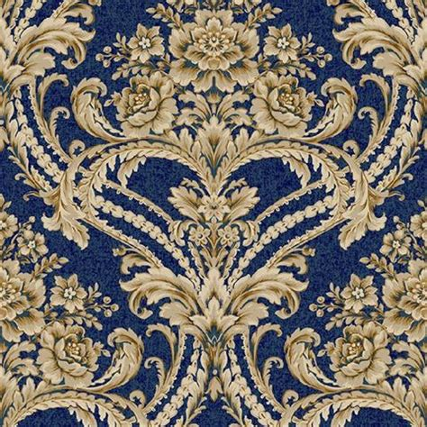 bq blue  gold baroque floral damask wallpaper