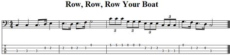 Row Your Boat Menu by Row Row Row Your Boat Bass Guitar Tab And Sheet