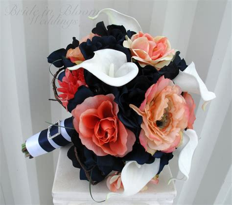 Wedding Bouquet Coral Navy White Calla Lily Rose Bridal