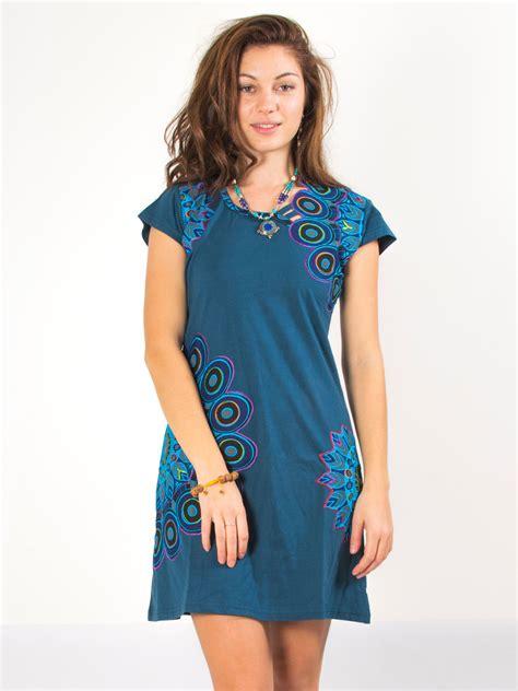robe ethnique bleu petrole  original plume de paon