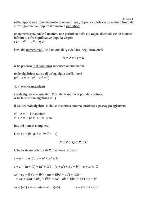 dispense matematica generale numeri irrazionali dispense