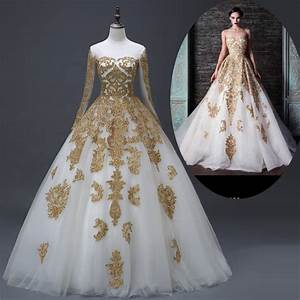 muslim bridal wedding dresses real photo gold white long With gold beaded wedding dress